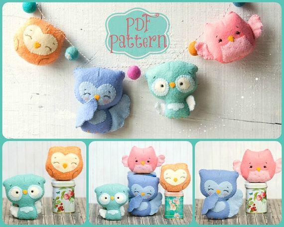 PDF. Owl family garland.  Plush Doll Pattern, Softie Pattern, Soft felt Toy Pattern.