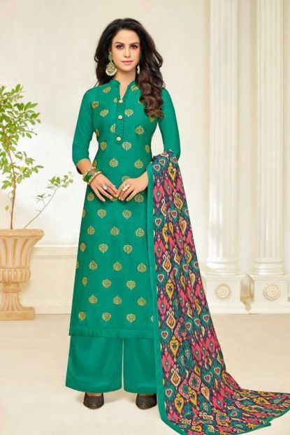 c96a72b1ba948 Green Jam Silk Printed Evening Wear Stylish Salwar Suit With Dupatta  Catalog No   6881 Website