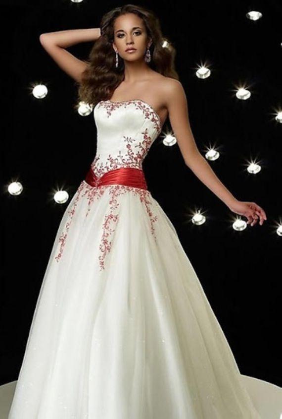 Winter, Christmas, wedding dress, white, red, glitter, long dress
