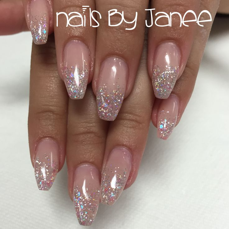 Glitter pink ballerina nails by Janee