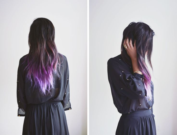 Purple dip dye - I want to do this at home SO bad! It's been 9 years since I've done anything at all (cut or dye) so I  I figure, if I'm going to get it trimmed anyway, I'm doing the ends purple first...darnit lol -Kim