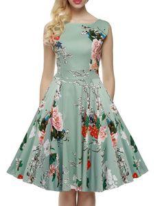レトロワンピース ライトグリーン ノースリーブ ボートネック 綿混紡 花柄 レトロ プリント付き フルスカート 女性用