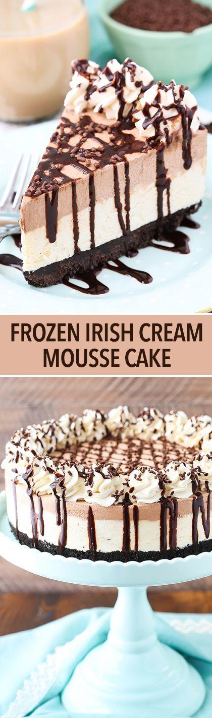 Frozen Irish Cream Mousse Cake - chocolate and Irish cream combine to make this amazing frozen cake!