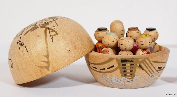 1950's Japanese Kokeshi Doll Tiny Seven Lucky Gods in Cup | eBay