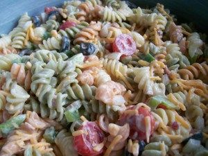 Ingredients  1 lb tri-color spiral pasta (or your favorite – cooked and drained according to package directions.)  1 medium onion, diced  1 medium green bell pepper, diced