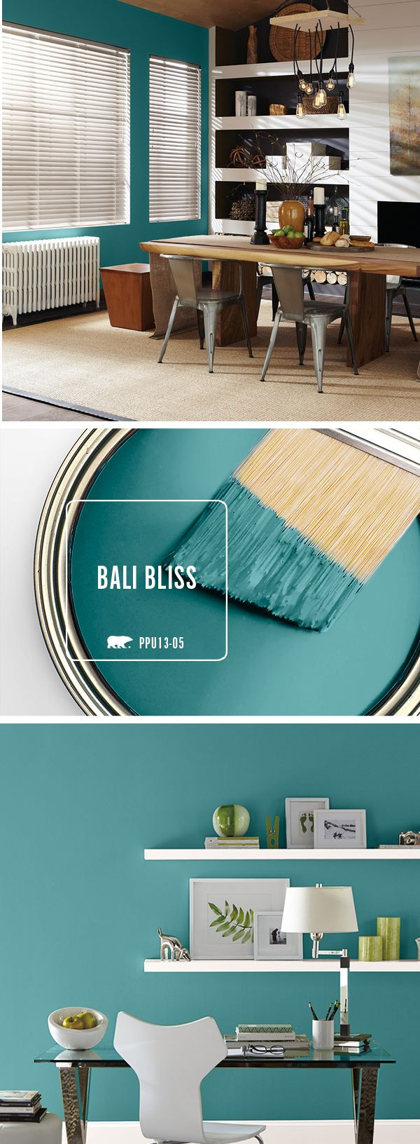 Bali Bliss is the perfect teal tone to help incorporate a chic and eclectic feel to your home. Try pairing this unique paint shade with neutral accessories and hints of wood to add a cozy touch to your dining room or home office.