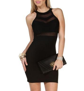 Black Mesh Chevron Bodycon Dress -- I'm trynaaa wear this to someone's Dated... hahahaha