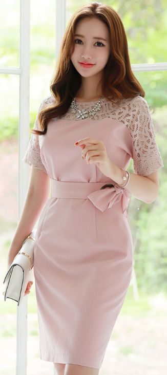 StyleOnme_Lace Shoulder Detail Belted Dress #pink #feminine #koreanfashion #kfashion #kstyle #summerlook #seoul #dress