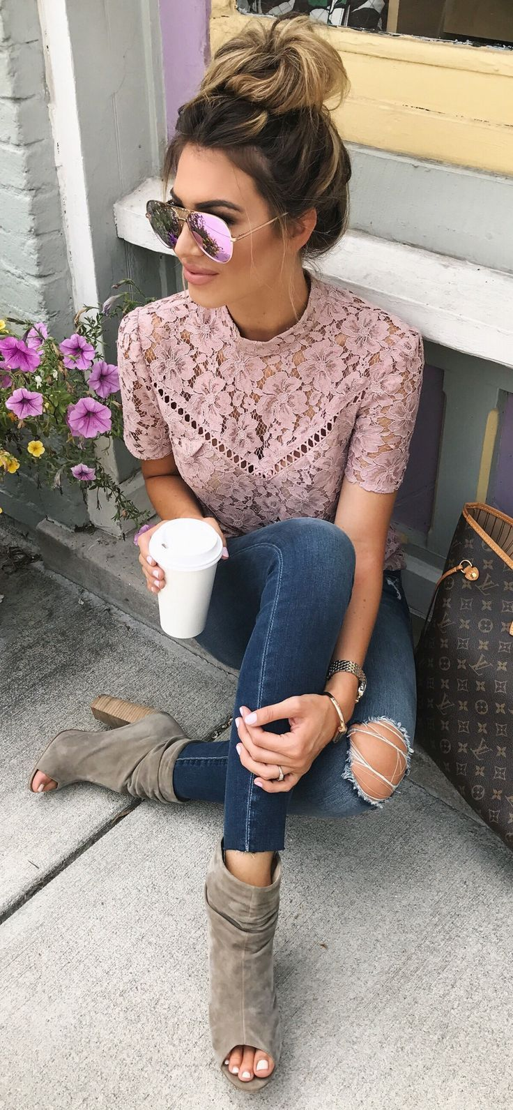 #summer #outfits Blush Lace Top + Destroyed Skinny Jeans + Olive Open Toe Booties