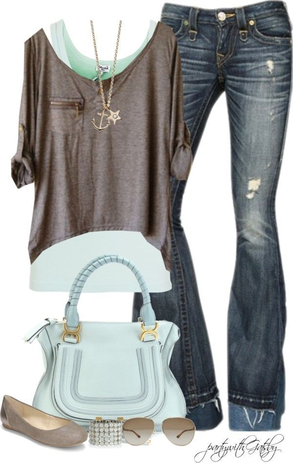 love love this outfit - something about that over shirt that's layered over the aqua.