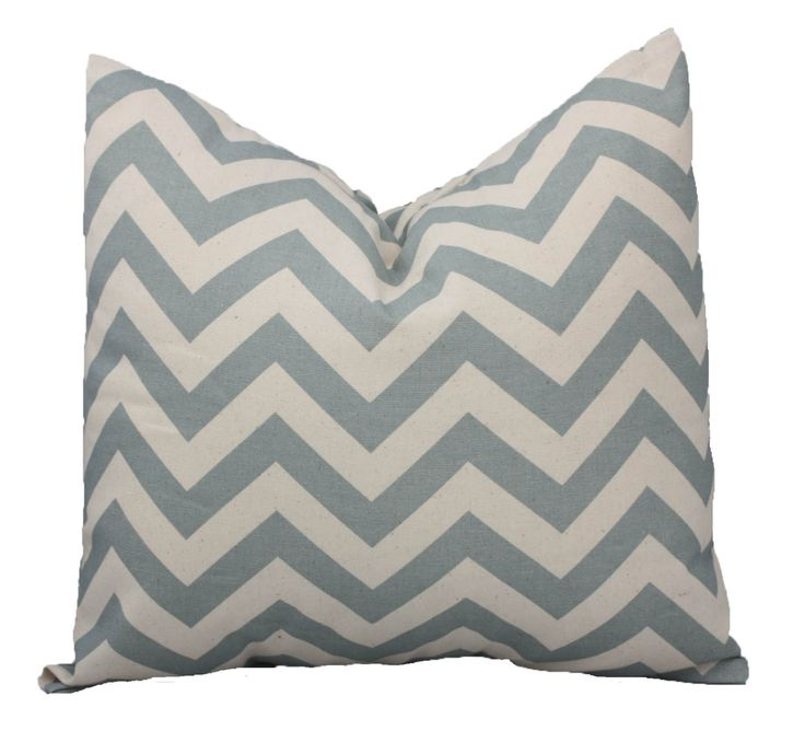 Chevron Zig Zag Print Decorative Pillow Cover Village Blue and Natural Color ONE - You Pick Size Free U.S. Shipping. (12.00 USD) by studioninetwenty