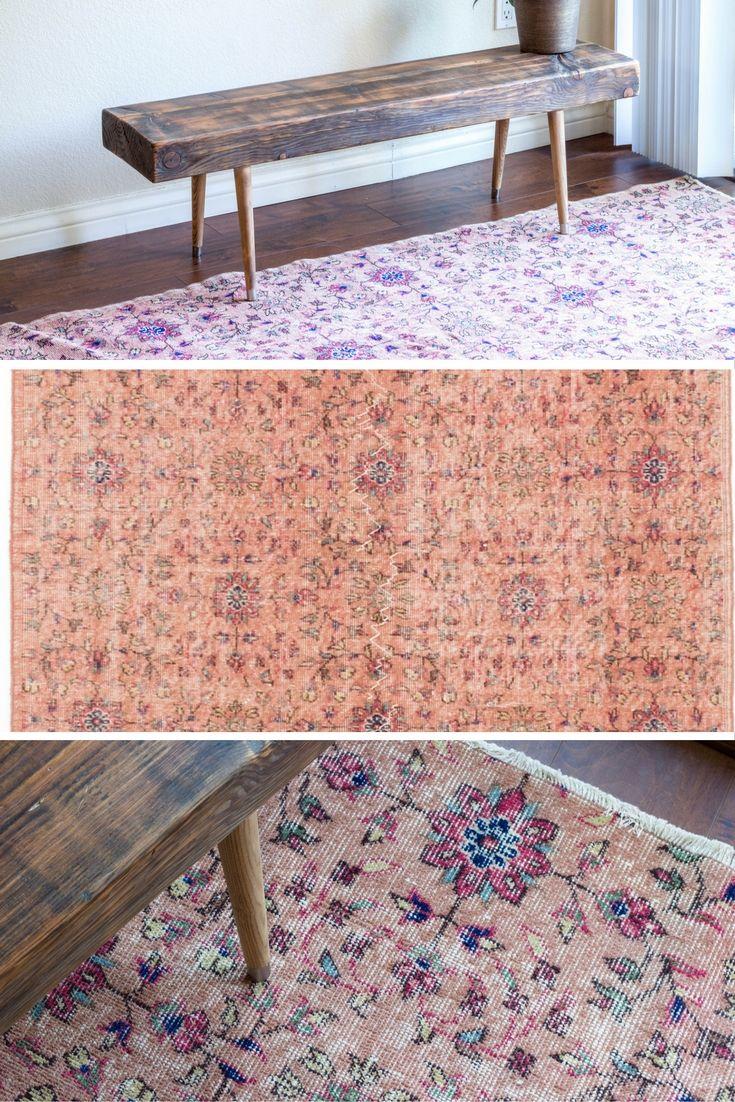 Vintage Blush Pink Peachy Kilim Flatweave Distressed Rug Sfrugs Dining Room