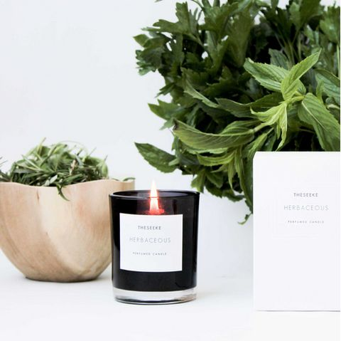 Theseeke HERBACEOUS CANDLE BLACK GLASS