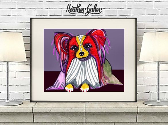 DIGITAL Print File - Papillon Art Dog Print Pop Art Poster (HG738)