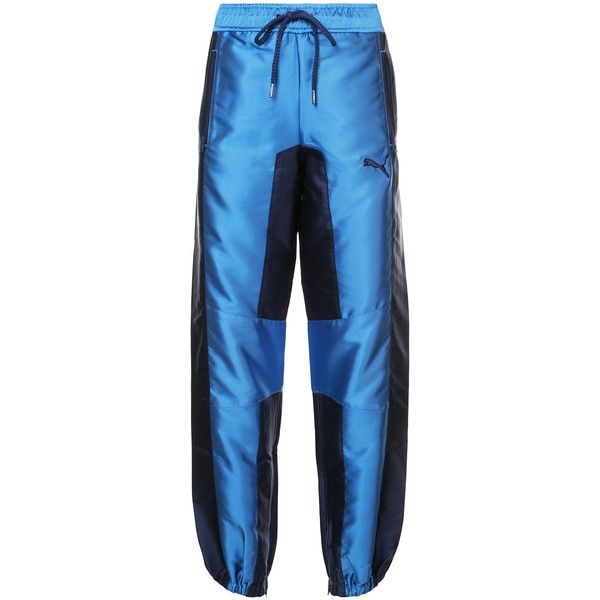 Fenty Satin Trousers featuring polyvore, women's fashion, clothing, pants, blue, puma pants, two tone pants, puma trousers, blue satin pants and blue pants