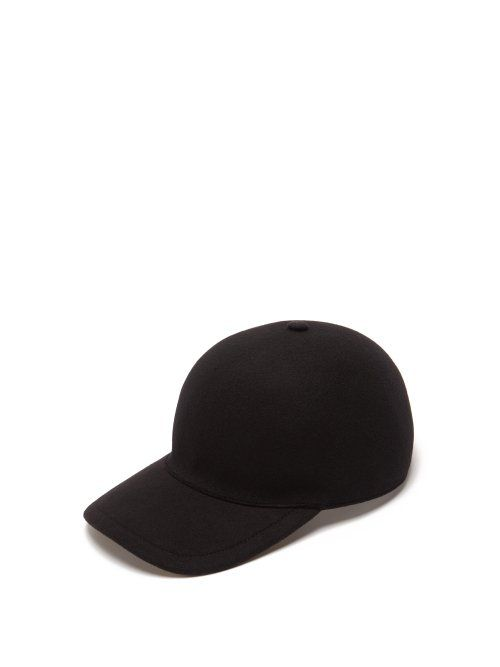 0aaf337d205 BURBERRY BURBERRY - CASHMERE AND WOOL BLEND BASEBALL CAP - MENS - BLACK.   burberry