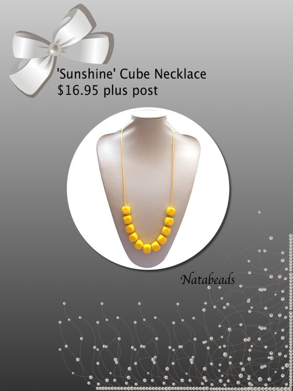 'Sunshine' Silicone Teething Necklace Available at www.facebook.com/Natabeads