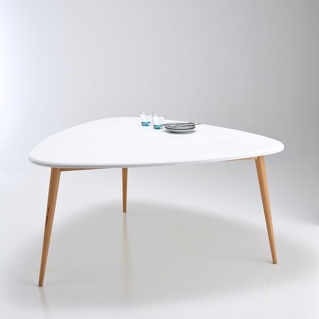 Jimi 6 Seater Dining Table La Redoute Interieurs : price, reviews and rating, delivery.  Jimi 6 Seater Dining Table. This neo retro table makes a great style statement in the dining room! Oval shape. Seats 6. Size: Length: 154.9 cm Height: 75 cm Depth: 150 cm. White lacquered MDF top with polyurethane varnish finish. 3 solid birch legs with nitrocellulose varnish finish. Self-assembly.