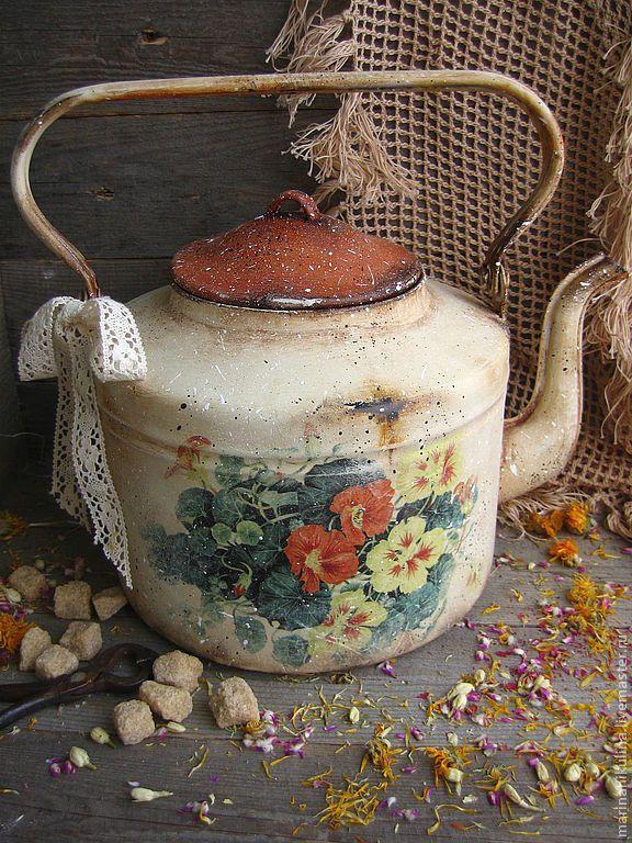 """Купить """"Настурции"""" чайник - бежевый, чайник, винтаж, ретро, настурция, деревенский стиль, кантри, провинция"""