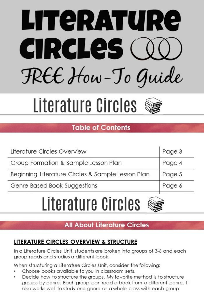 Literature Circles Guide Free High School English Teaching