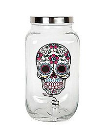 Sugar Skull Beverage Dispenser - Fill this Sugar Skull Beverage Dispenser with some punch or other beverage of choice, and your guests will be fighting over who gets to fill up first.