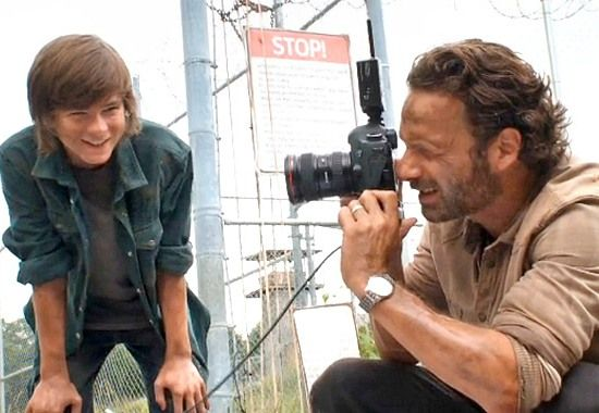Chandler Riggs and Andrew Lincoln on the set of The Walking Dead