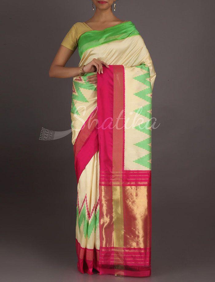 Shravani Zig Zag Waves Tri Color Ikat #PochampallySilkSaree