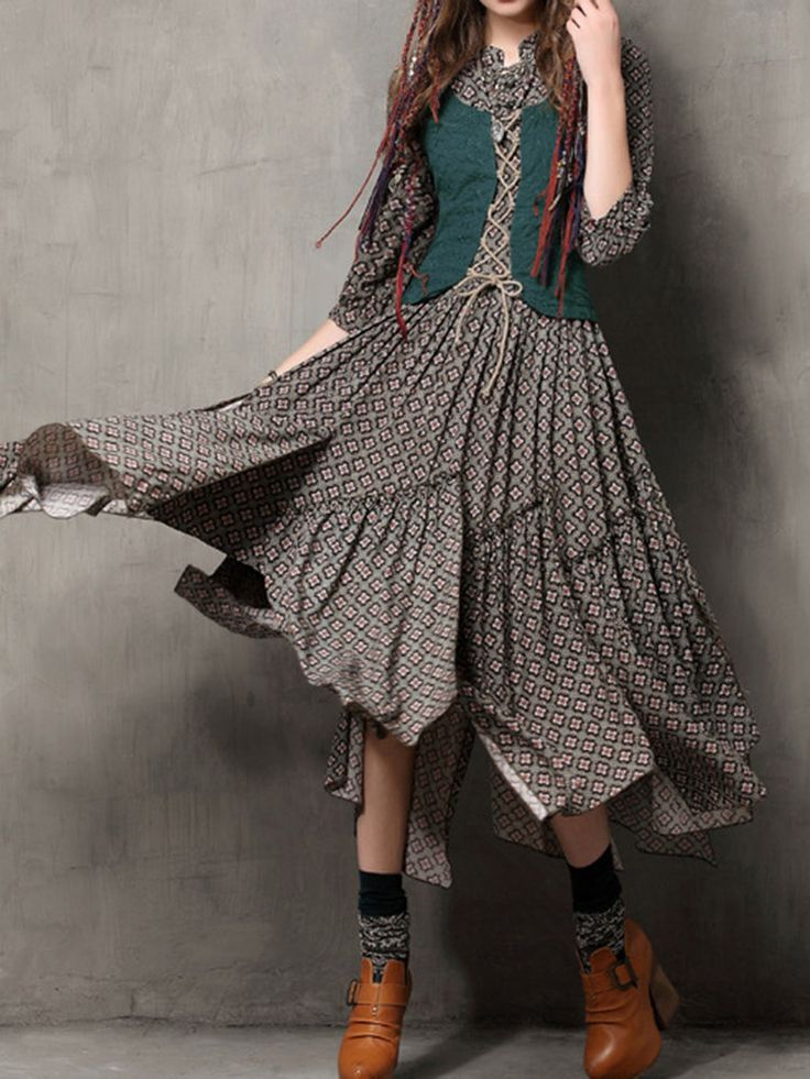 Women Ethnic Style Meticulous Print Fake Two Pieces Maxi Dresses