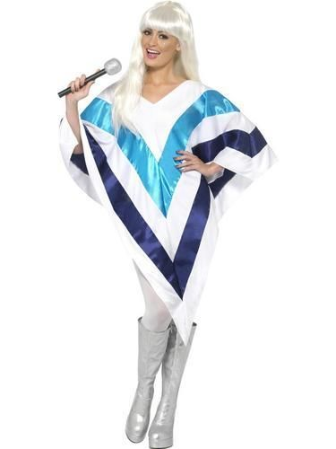 Super Trooper Poncho Cape Ladies Celebrity Fancy Dress Womens 1970s Abba Costume