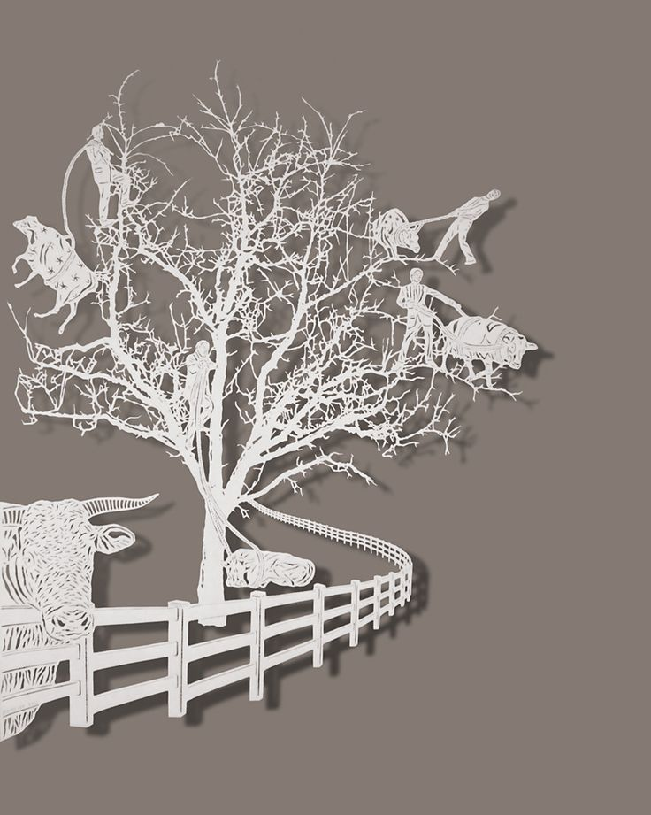 Bovey Lee, Lassoing Cows. Paper-cutting.