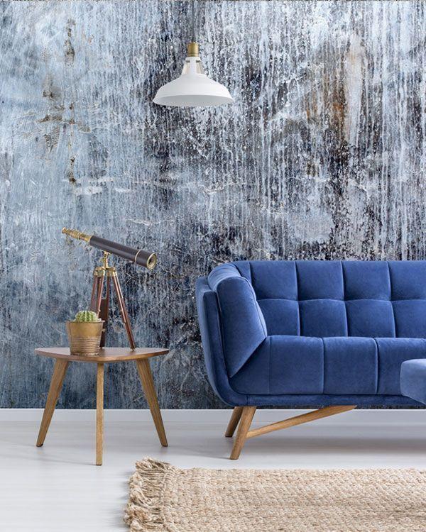 Concrete Blues Wallpaper Wallsauce Us Feature Wall Living Room Blue Wallpaper Living Room Kitchen Wall Mural Ideas