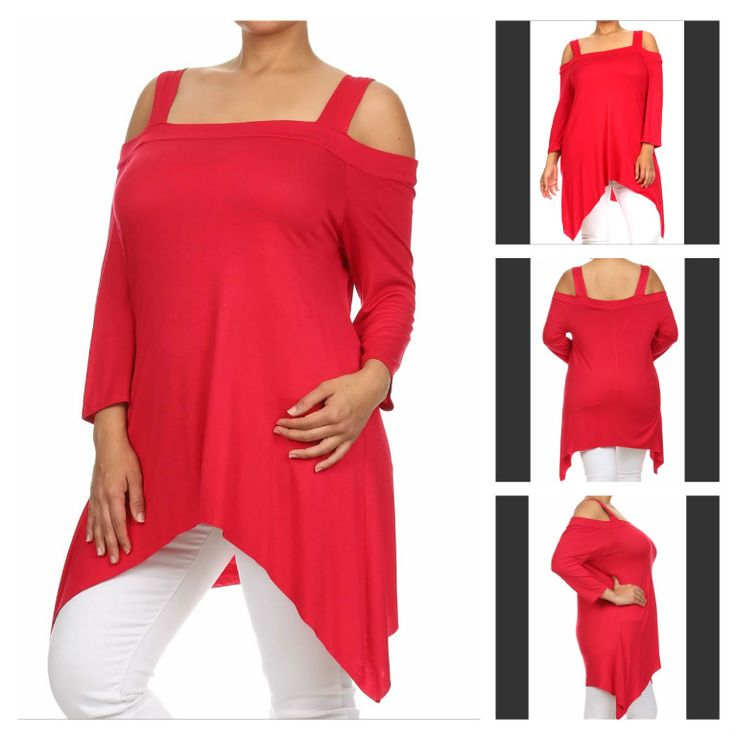 Asymmetric cold shoulder tunic with square neck  Available colors: Red, Black, Baby Blue, Royal Blue, Blush, Navy, Ivory, Plum, Mocha, Indigo, Denim