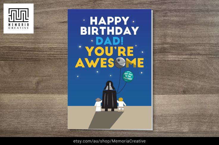 https://www.etsy.com/au/listing/214640262/happy-birthday-card-star-wars-card-happy #StarWars #Star #Wars #HappyBirthday #BirthdayCard #CuteCard #Happy #Birthday #Dad