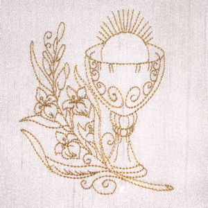 CHALICE REDWORK 4X4-Christian embroidery redwork designs, Easter embroidery redwork designs,chalice redwork embroidery design, communion red...