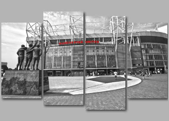 """Old Trafford B & W with Manchester United Red by RwHPhotography 50"""" x 34"""""""