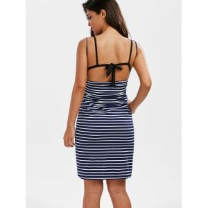Pinstripe Open Back Cover-ups Dress - STRIPE 2XL