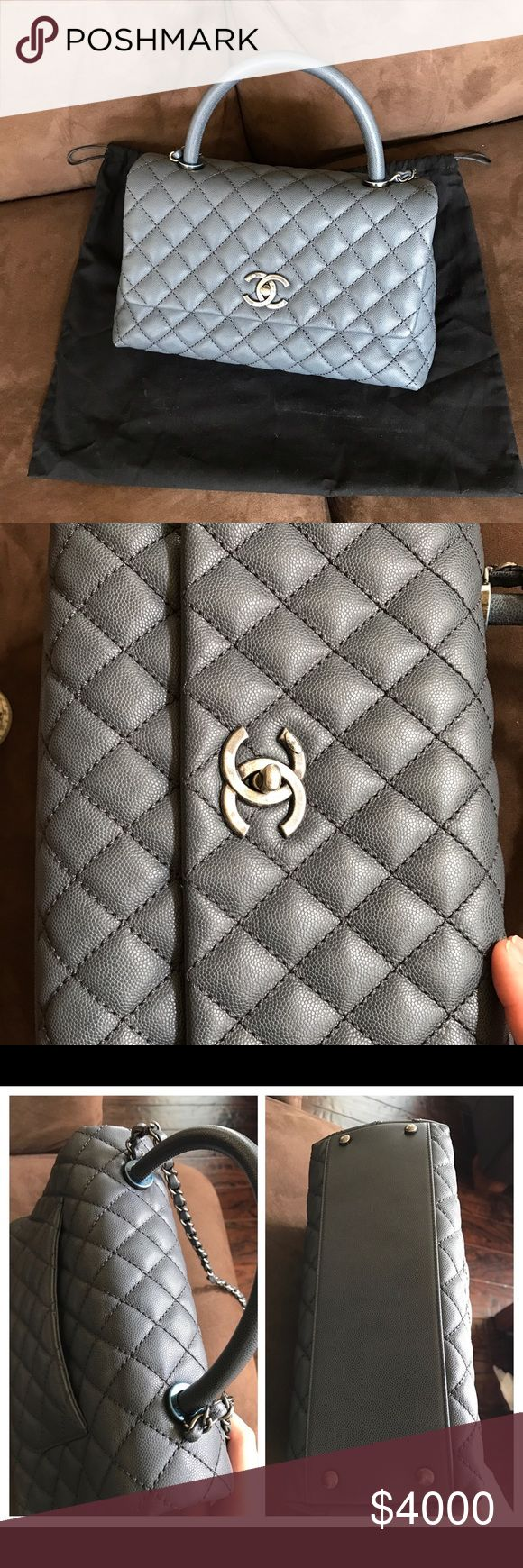 Small Chanel Coco Handle Coco Handle Carviar In Grey. Comes with dustbag and box. Used only one time.  Will lower through ️️ CHANEL Bags