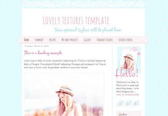 Responsive Blogger Premade Template. Lovely textures template. Blog design. Cute template with paper, washi tape and lace textures..