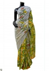 Hand painted cotton saree with kantha work