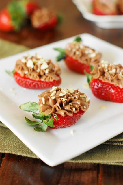 Nutella-Strawberry Cheesecake Bites ~ Topped with a quick-and-easy Nutella cheesecake mixture, enjoy for a little-bite dessert, party treat, or afternoon snack.  Or breakfast?   www.thekitchenismyplayground.com