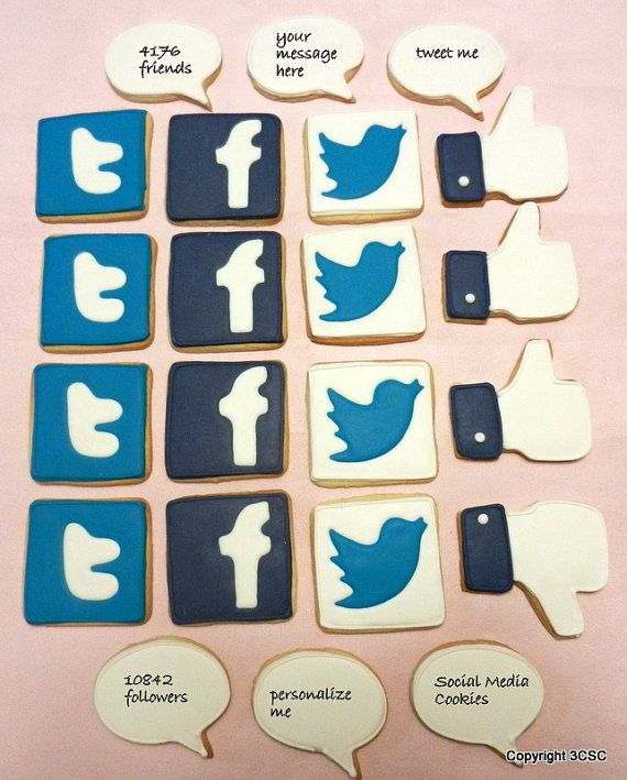 Social Media Cookies Party Platter Assortment-Facebook, Twitter