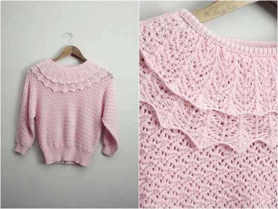 Vintage Esprit Sweet pink Crochet Sweater top by PARASOLvintage