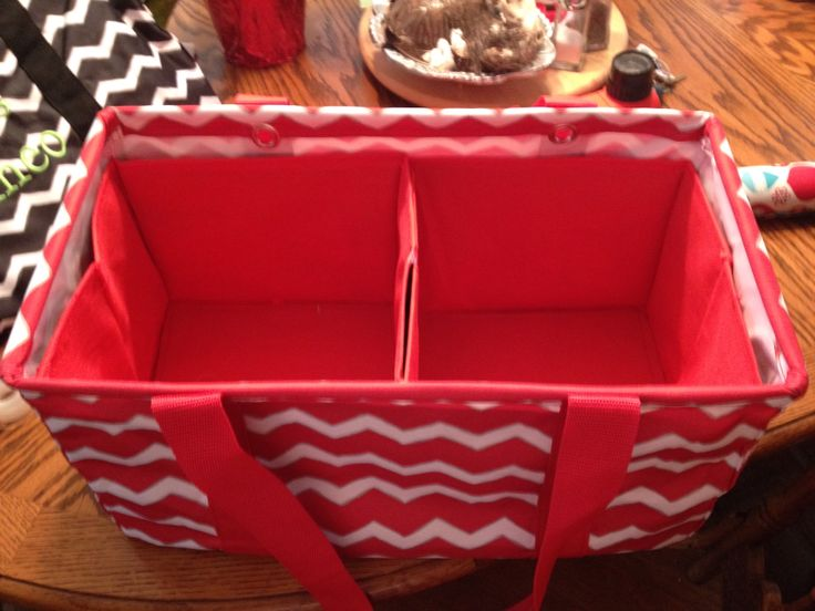 Use two Dollar Tree collapsible bins for the Thirty One medium utility tote. Keeps it stabilized and organized!