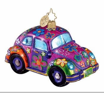 christopher radko retired ornaments | Christopher Radko Flower Power Ornament - Volkswagon Beetle Ornament ...