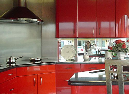 Top 25 ideas about metal cabinets on pinterest paint for Brightly painted kitchen cabinets