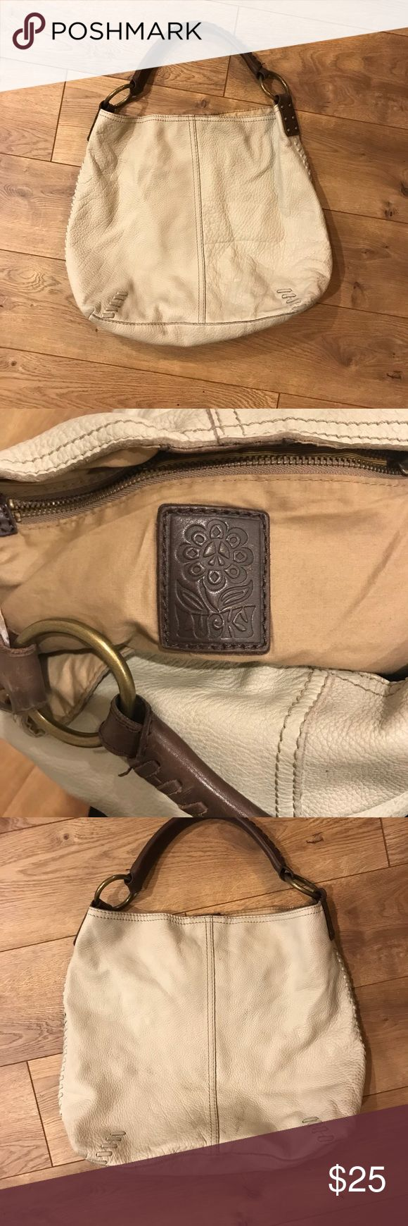 Lucky Brand leather slouch purse Real leather, durable, off white slouch bag by Lucky Brand. Magnetic closure. Lucky Brand Bags Shoulder Bags