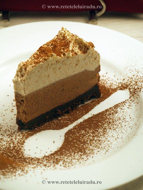 Three colours chocolate homemade cake
