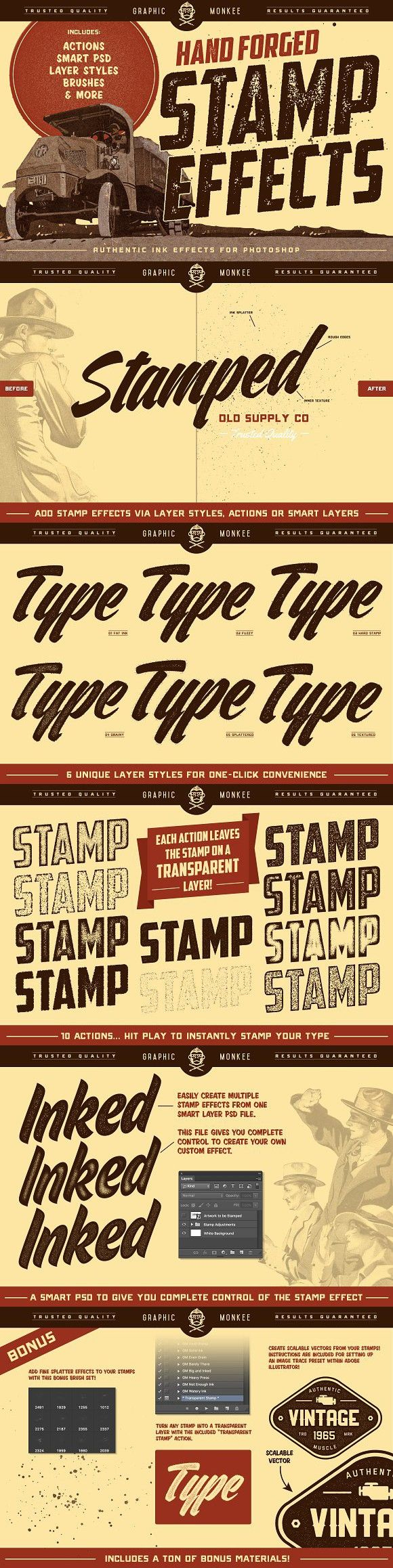 Hand Forged Stamp Effects. Photoshop Layer Styles. $14.00