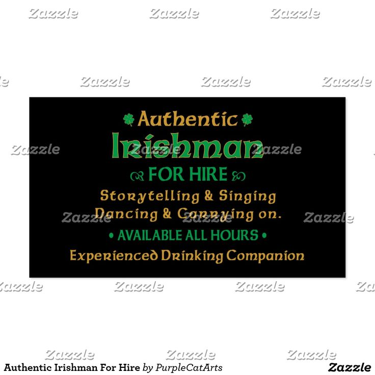 Authentic Irishman For Hire Business Card
