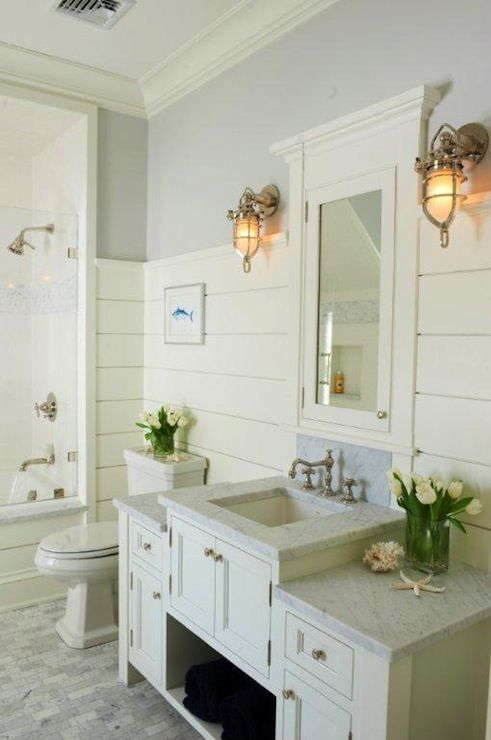 Suzie Jillian Klaff Homes Cottage Bathroom With Gray Paint Color Tongue And Groove